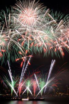 Flower Shaped Fireworks Stock Photo