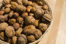 A Basket Of Nuts Stock Photo