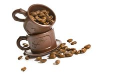 Free Coffee Grains In Brown Cup Royalty Free Stock Photography - 2735417