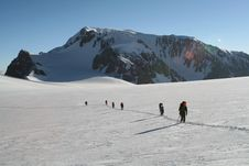 Free Group On A Glacier Royalty Free Stock Photography - 2735947