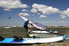 Free Windsurfer Ready To Start Stock Photo - 2736510