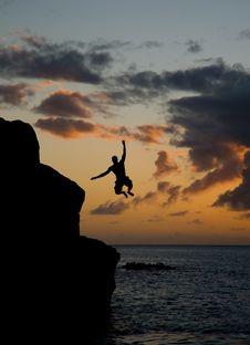 Free Jumping In Waimea Bay Royalty Free Stock Photos - 2738758