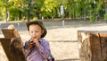 Free Little Boy Enjoying A Snack Outdoors Royalty Free Stock Photos - 27303778