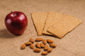 Free Red Apple With Crispbread And Almonds Stock Images - 27304474