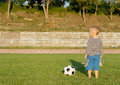 Free Barefoot Boy With Soccer Ball Royalty Free Stock Photo - 27304855