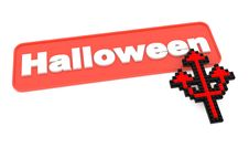 Halloween Button With Trident S Shaped Cursor. Royalty Free Stock Photography