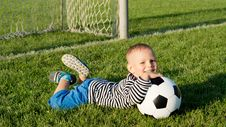 Free Happy Little Boy With His Soccer Ball Royalty Free Stock Photo - 27304265