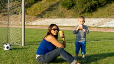 Free Mum And Son Playing Soccer Royalty Free Stock Image - 27304406