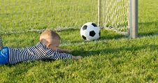 Free Small Boy Misses The Goal Royalty Free Stock Images - 27304489
