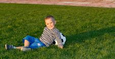 Free Small Boy Lying On Green Grass Stock Image - 27305031