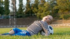Free Small Boy Playing With A Soccer Ball Royalty Free Stock Image - 27305076