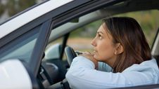 Free Woman Waiting Patiently In Her Car Royalty Free Stock Photography - 27305337