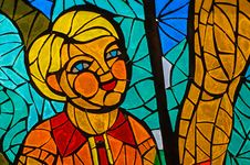 Stained-glass Window. Made In USSR Royalty Free Stock Photography