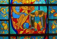 Stained-glass Window. Made In USSR Stock Photos