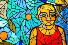 Stained-glass Window. Made In USSR Royalty Free Stock Image