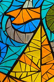 Stained-glass Window. Made In USSR Royalty Free Stock Photo