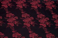 Black Silk With Floral Pattern Stock Images