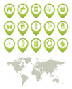 Free Ecology Buttons Set And World Map Royalty Free Stock Photos - 27313758