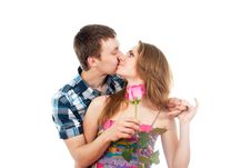 Free Guy Kisses A Girl With A Rose Royalty Free Stock Images - 27314889
