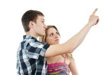Free Guy With A Girl Indicates Upwards Stock Photos - 27315053