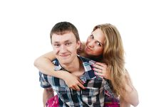 Happy Girl With A Guy Royalty Free Stock Image