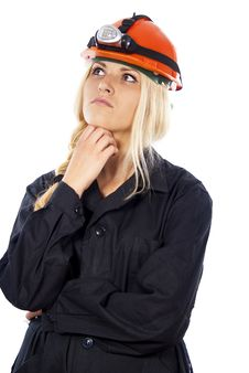 Free Girl In A Helmet Thinking The Builder Royalty Free Stock Photos - 27315788