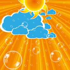 Free Clouds Sun And Bubbles Royalty Free Stock Photography - 27317997