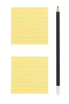 Free Pencil And Two Yellow Notes On White Background Royalty Free Stock Photo - 27318695