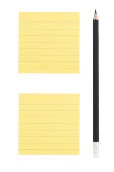 Free Pencil And Two Post-it Notes On White Background Stock Images - 27318704