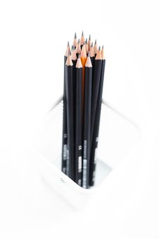 Free Pencils In The Meshy Box On White Background Stock Image - 27318711