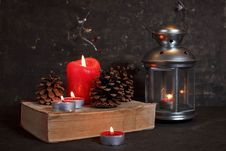 Free Christmas Decoration With Candles Royalty Free Stock Image - 27319216