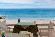 Free Table On The Shore Of The Sea Royalty Free Stock Photo - 27322945