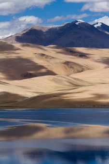 Free Tsomoriri Mountain Lake Panorama With Mountains Royalty Free Stock Images - 27326699