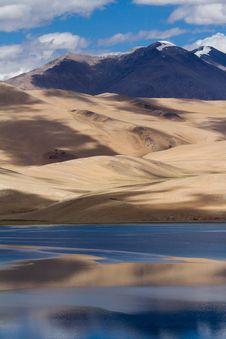 Tsomoriri Mountain Lake Panorama With Mountains Royalty Free Stock Images