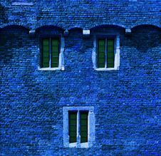 Free Blue Brick Wall With Windows Stock Images - 27326874