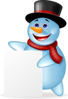 Free Snowman Cartoon With Blank Sign Royalty Free Stock Image - 27330626