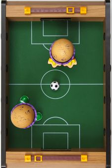 Eggs Playing Soccer Stock Photos