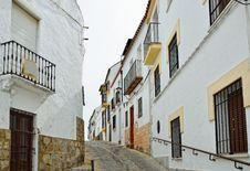 Steep Narrow Street In The Ancient Ronda Royalty Free Stock Photos