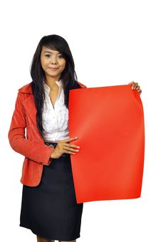 Woman Hold Red Banner Stock Photography