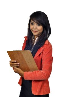 Free Asian Business Woman Holding Clipboard Stock Images - 27337474