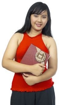 Free Fat Chubby Girl Holding Present Royalty Free Stock Photography - 27337527