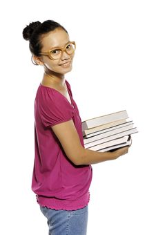 Free College Student Carrying Stack Of Books Stock Image - 27337531