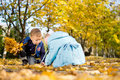 Free Brother And Sister Playing In Fall Leaves Stock Images - 27344054
