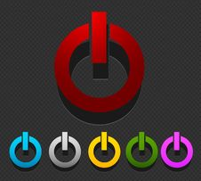 Free Colorful Power Buttons Set Royalty Free Stock Image - 27341836