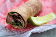 Delicious Roastbeef Wheat Wrap Royalty Free Stock Photo