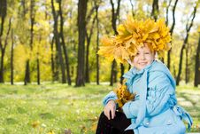 Free Little Girl Wearing A Crown Of Autumn Leaves Stock Images - 27343774