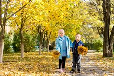 Free Brother And Sister In Autumn Park Royalty Free Stock Images - 27343779