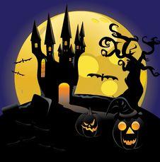 Haunted Halloween Castle Royalty Free Stock Image