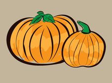 Free Two Pumpkins Illustration Royalty Free Stock Photography - 27348917
