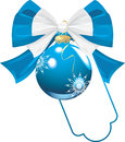 Free Blue Bow With Christmas Ball Stock Photos - 27357053